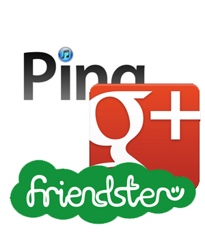 Ping, Google Plus, Friendster