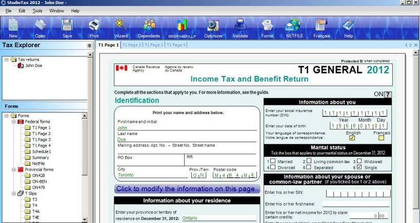 Studio Tax Software Interface