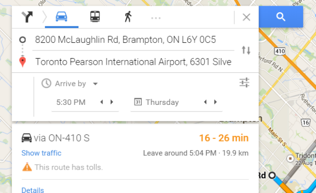 Google Maps Arrive By, Depart At